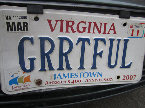 photo of license plate GRRTFUL